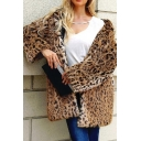 Womens Fashion Leopard Printed Long Sleeve Open Front Hooded Longline Faux Fur Coat