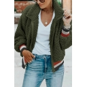 Womens Stylish Lapel Collar Long Sleeve Colorblocked Stripes Trim Zip Up Slim Fit Fuzzy Teddy Jacket Coat
