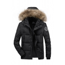 Mens Plain Black Fur-Trimmed Hood Badge Embellished Long Sleeve Zip Up Puffer Parka Coat with Pocket