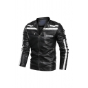 Mens Fashionable AMEETTINGCO Letter Embroidery Stripes Patchwork Snap Collar Zip Up Faux Leather Moto Jacket Outwear