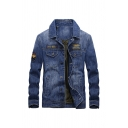 Embroidered Letter FR-095 Patch Lapel Collar Long Sleeve Flap Pocket Button Front Denim Blue Slim Fit Casual Jacket Coat