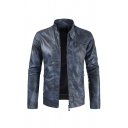 Mens Fashionable Snap Collar Long Sleeve Zip Front Slim Fit Plain Blue Faded Casual PU Jacket