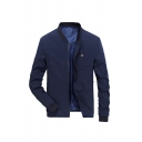Mens Plain OK Printed Stand Up Collar Stitches Embellished Long Sleeve Navy Blue Zipper Casual Jacket