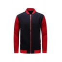 Mens Fashion Color Block Stand Collar Long Sleeve Zip Up Two-Tone Fitted Baseball Jacket with Zipper Pocket