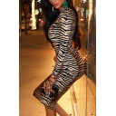 Womens Fashion Tiger Printed Long Sleeve Mock Neck Brown Retro Bodycon Dress