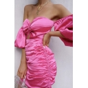 Ladies Sexy Solid Sweetheart Neck Puff Sleeve Cutout Pleated Detail Side Drawstring Mini Dress