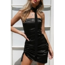 Womens Exclusive Plain Black Metallic Side Ruched Drawstring Mini Strap Dress with Scarf