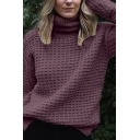 Womens Casual Plain Roll Neck Long Sleeve Relaxed Loose Knitted Pullover Sweater