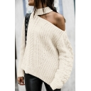 Womens Plain Cutout Shoulder Cable Knit Long Sleeve Oversided Pullover Sweater