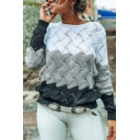 Womens Fashionable Color Block Long Sleeve Open-Knit Loose Pullover Sweater