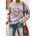 Womens Casual Letter YAY BEER Heart Pattern Long Sleeve Gray Pullover Graphic Sweatshirt