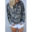 Womens Casual Camo Printed Long Sleeve Thin Drawstring Hoodie without Pocket