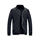 Mens Classic Diamond Pattern Long Sleeve Stand Collar Zip Front Slim Fit Casual Baseball Jacket