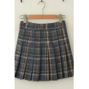 Womens Retro Plaid Pattern High Waist Daily Wear Mini Pleated Skirt