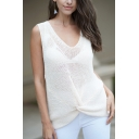 Womens Fashionable Twist Front Sleeveless Beige Open Knitted Thin Pullover Vest
