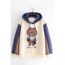 Womens Cute Cartoon Bear Embroidery Colorblocked Long Sleeve Relaxed Drawstring Hoodie