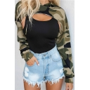 Womens Sexy Camo Printed Long Sleeve Drawstring Hood Asymmetric Hem Super Crop Hoodie