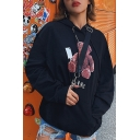 Womens Fashionable Black Horror Bear Printed Long Sleeve Oversized Pullover Hoodie with Pouch Pocket