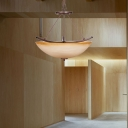 Bowl Glass Shade Pendant Ceiling Light Country 1 Head Pendant Chandelier in Beige for Study Room