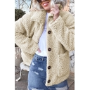 Womens Fashionable Solid Color Lapel Collar Long Sleeve Big Pocket Sherpa Warm Coat