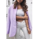 Light Purple Lapel Collar Long Sleeve Two Button Longline Loose Blazer Coat with Pocket