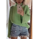 Womens Fashion Light Green Long Sleeve Roll Neck Oversized Draped Loose Knitwear Pullover Sweater