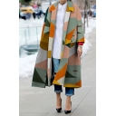 Womens Fashion Colorblocked Geometric Pattern Notched Lapel Long Sleeve Oversized Longline Outdoor Coat