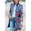 Stylish Tribal Pattern Stand Collar Long Sleeve Open Front Longline Woolen Coat