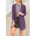Winter Fashion Long Sleeve Open Front Plain Fuzzy Fleece Cardigan Coat with Big Pocket