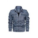 Stylish Stand Up Collar Long Sleeve Faded Wash PU Leather Zipper Solid Color Casual Thick Biker Jacket