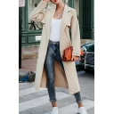Womens Stylish Commuting Coat Long Sleeve Hidden Button Tied Waist Slit Back Light Apricot Longline Warm Woolen Overcoat