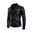 Popular Notch Lapel Long Sleeve Zipper Decoration Flap Pocket Oblique Zip Closure Black Fitted PU Moto Jacket