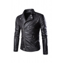 Winter Fashionable Studded Lapel Collar Inclined Zip Slim Fit Plain PU Jacket with Zipper Decoration