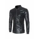 Mens Popular Metallic Long Sleeve Stand Collar Zip Up Slim Fit Nightclub Wear Jacket