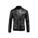 Mens Fashionable Plain Long Sleeve Zip Up Slim Fit Quilted PU Baseball Jacket
