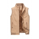 New Trendy Whole Colored Stand Collar Zip Up Sleeveless Casual Padded Vest Jacket with Pocket
