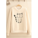 Cute Cat Print Long Sleeve Crew Neck Thick Pullover Sweatshirt for Juniors
