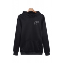 Unisex Cute Dinosaur Printed Chest Long Sleeve Casual Drawstring Hoodie with Pocket