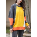 Womens Yellow and Grey Casual Colorblocked Geo Pattern Dolman Sleeve Loose Fit Batwing Sweater