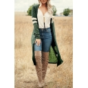 New Trendy Varsity Stripe Printed Long Sleeve Collarless Open Front Duster Cardigan