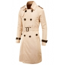 Men's Hot Fashion Plain Double-Breasted Long Sleeve Casual Longline Fitted Belted Trench Coat with Pocket