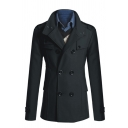 Mens Retro Epaulets Long Sleeve Double Breasted Tunic Solid Color Woolen Pea Coat