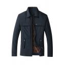 Mens Fashion Navy Blue Long Sleeve Lapel Collar Zip Placket Thick Utility Shirt Jacket with Pocket