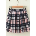 Girls Stylish Pink Check Printed Elastic Waist Casual Mini A-Line Wool Skirt