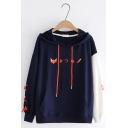 New Trendy Japanese Letter Fox Printed Lace-Up Single Sleeve Oversized Drawstring Hoodie