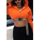 Hot Popular Orange Zipper Front Push Buckle Belt Cropped Hoodie for Women