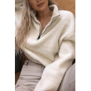White Fashionable Lapel Collar Half-Zip Closure Long Sleeve Sherpa Pullover Cropped Sweatshirt