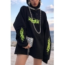 Hipster Hip Hop Fluorescent Pattern Printed Long Sleeve Black Oversized Casual Hoodie