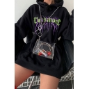 Black Fancy ROCKMORE Letter Printed Long Sleeve Oversized Drawstring Hoodie