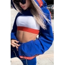 Fashion Womens Letter Tape Long Sleeve Cutout Blue Cropped Hooded Hoodie